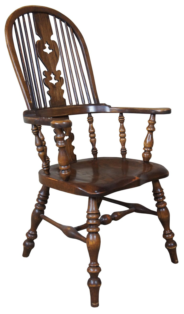 British Colonial 6 English Windsor Oak Dining Armchairs Vintage Country Farmhouse For Sale