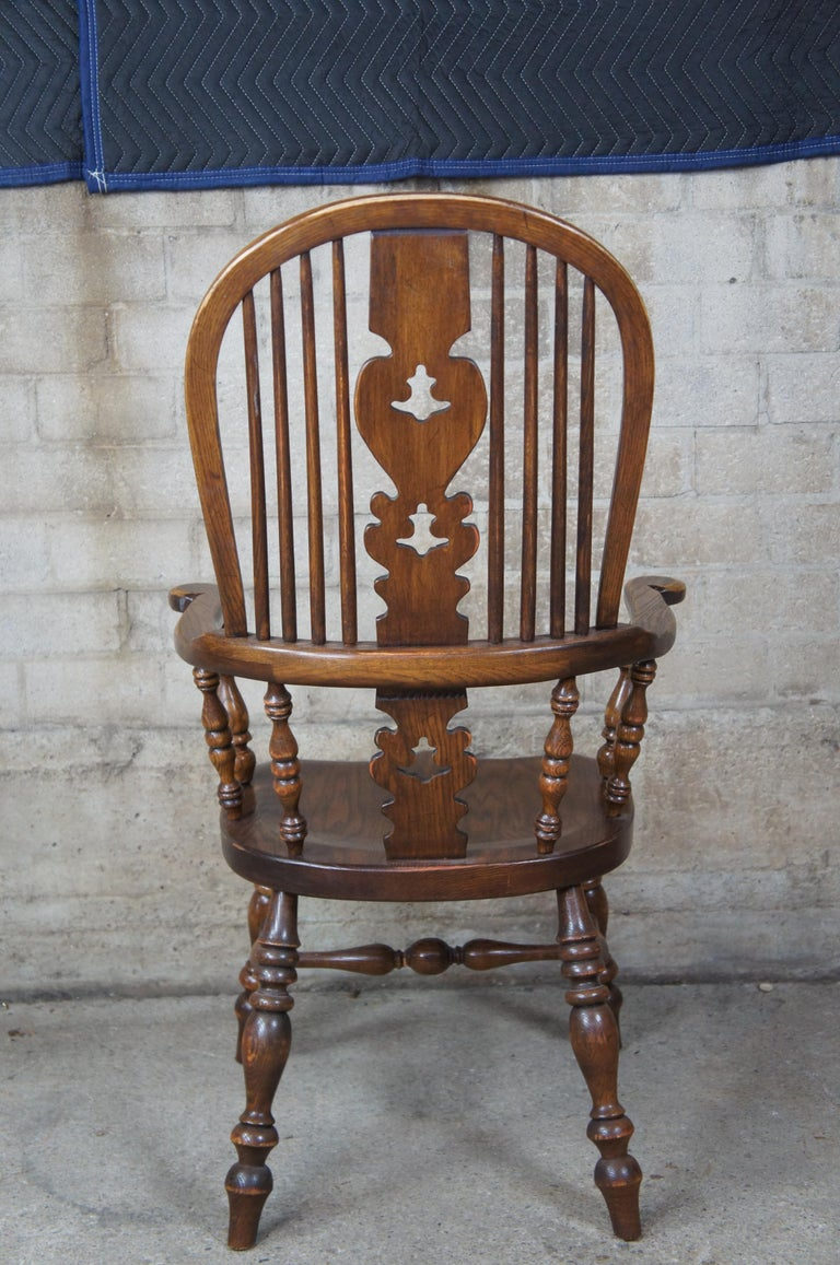 20th Century 6 English Windsor Oak Dining Armchairs Vintage Country Farmhouse For Sale