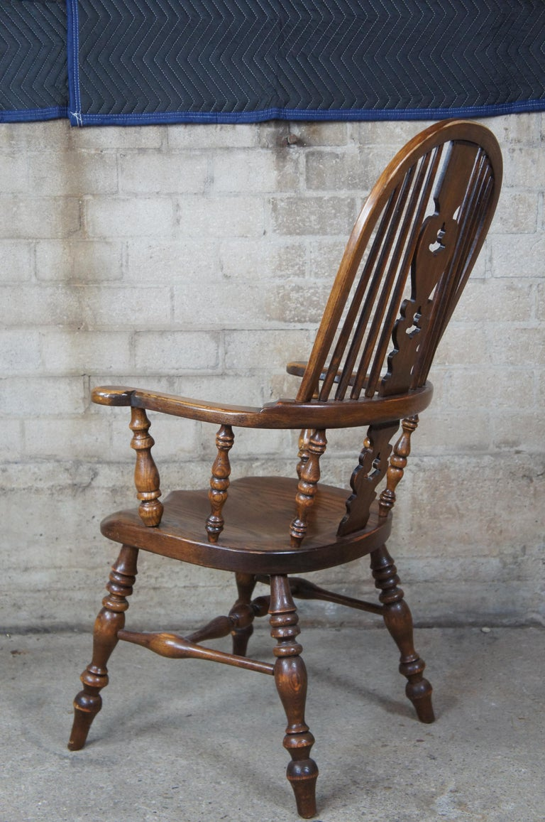 6 English Windsor Oak Dining Armchairs Vintage Country Farmhouse For Sale 1