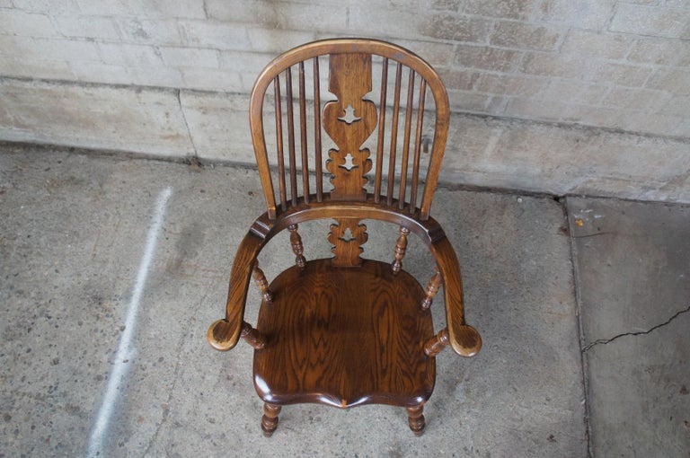 6 English Windsor Oak Dining Armchairs Vintage Country Farmhouse For Sale 2