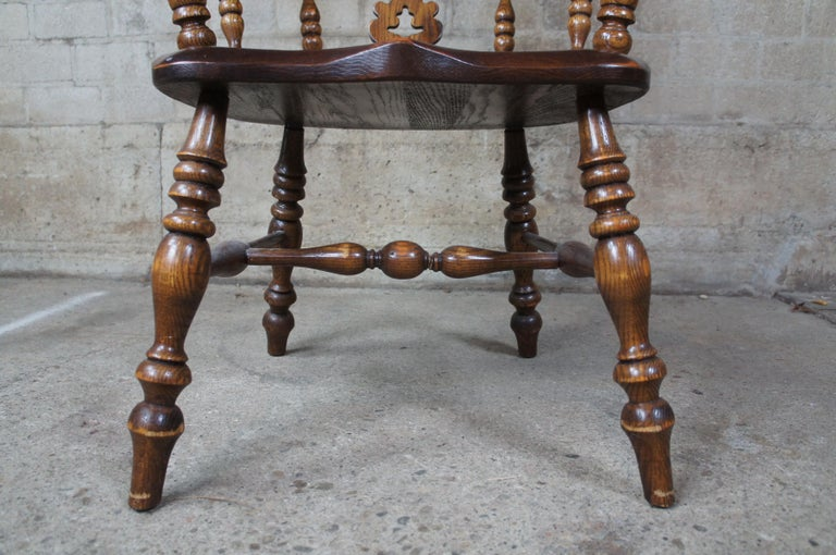 6 English Windsor Oak Dining Armchairs Vintage Country Farmhouse For Sale 3