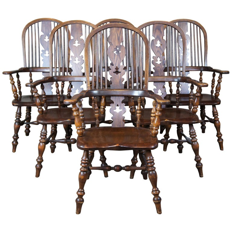 6 English Windsor Oak Dining Armchairs Vintage Country Farmhouse For Sale