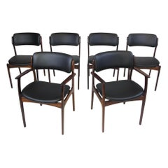 6 Erik Buck Rosewood Danish Dining Chairs in Black Leather