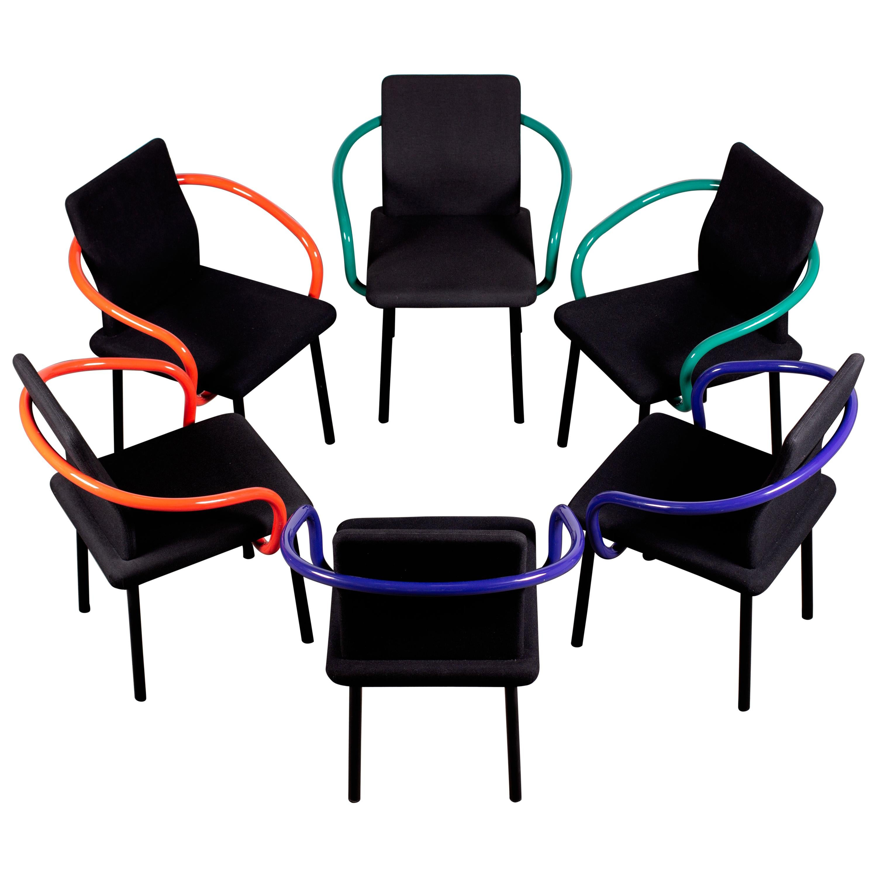 6 Ettore Sottsass Mandarin Chairs for Knoll