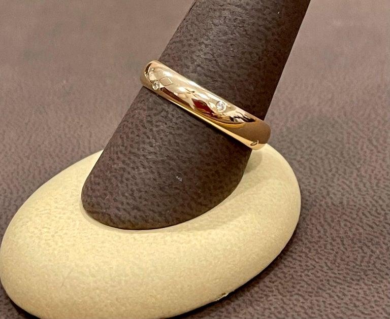 Round Cut 6 Flush Set Bezel Diamond Eternity Wedding Band in 18 Karat Yellow Gold For Sale