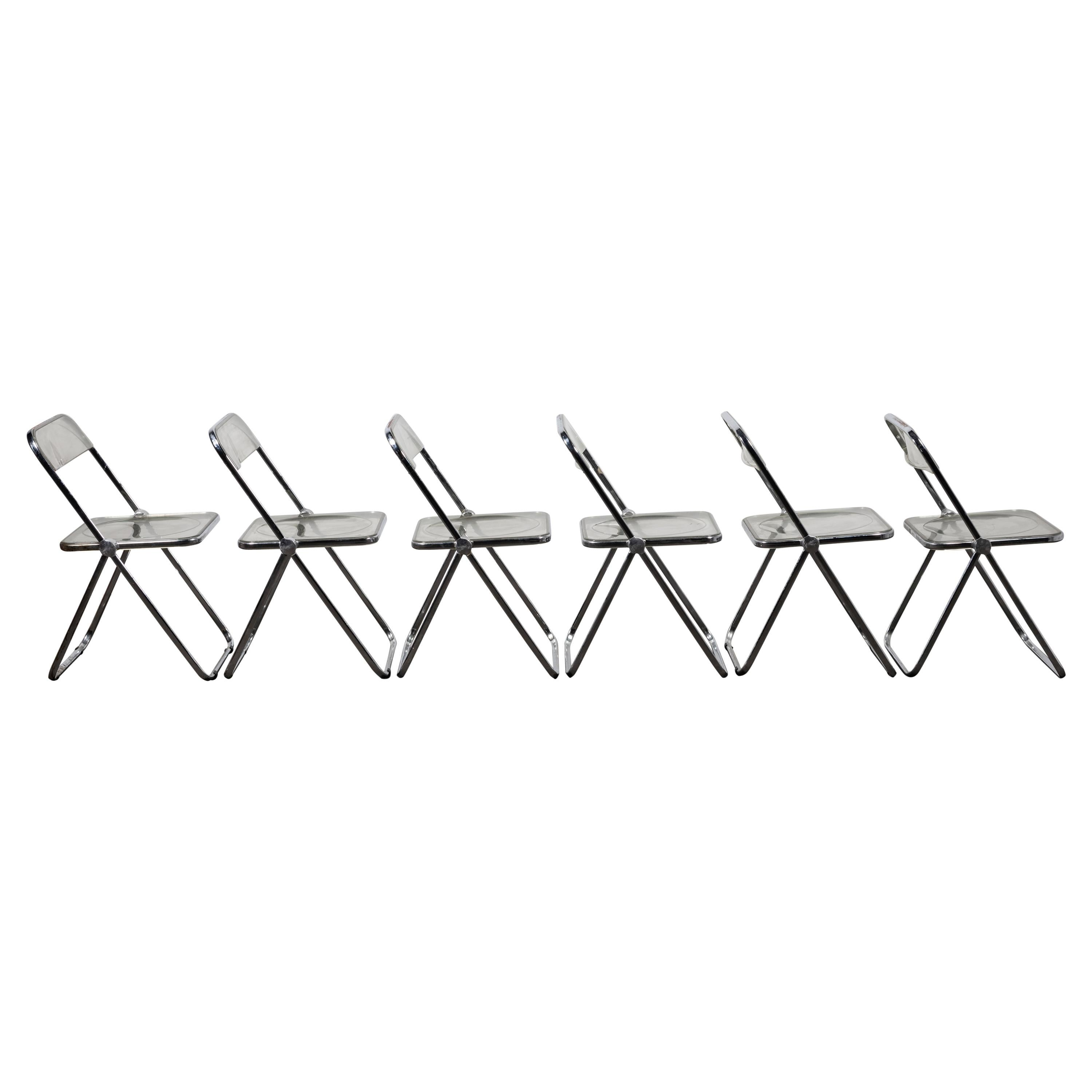 """6 Folding Lucite """"Plia"""" Chair by Piretti for Castelli, Italy"""