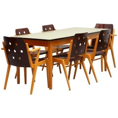 6 Franz Schuster Stacking Chairs Model 'Maestro' Austria 1950s with Dining Table