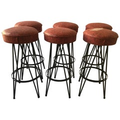 6 Frederick Weinberg Iron Bar/Counter Stools