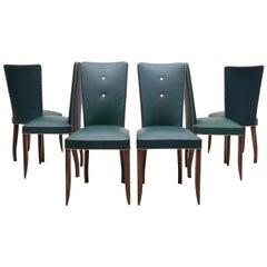6 French Art Deco Dining Chairs, 1940s