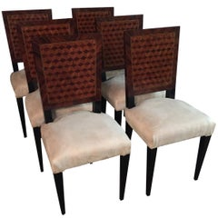 6  French Chairs in Art Deco Still Parquet Pattern
