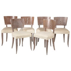 6 French Midcentury Cerused Dining Chairs, 1950s