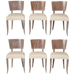 6 French Midcentury Cerused Oak White Dining Chairs, 1950s