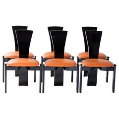 6 French Midcentury Dining Room Chairs Black Lacquer Hermès Colored Leather
