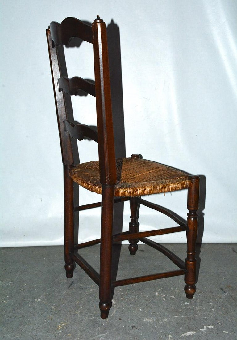 Oak 6 French Provincial Country Style Ladder Back Dining Chairs For Sale