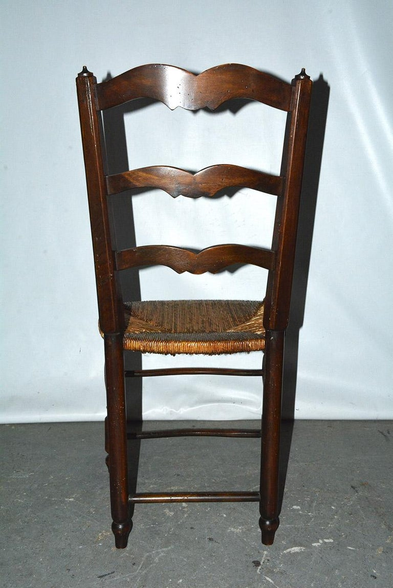 6 French Provincial Country Style Ladder Back Dining Chairs For Sale 1