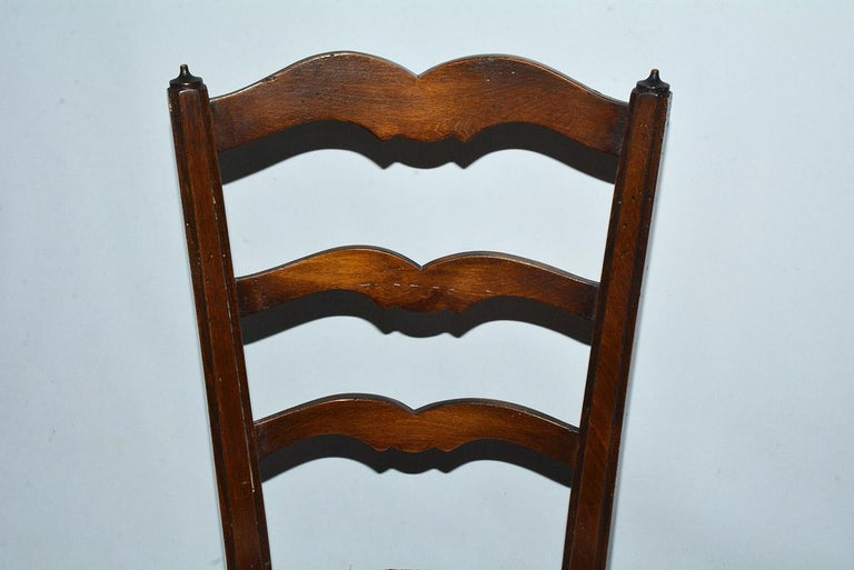 6 French Provincial Country Style Ladder Back Dining Chairs For Sale 2
