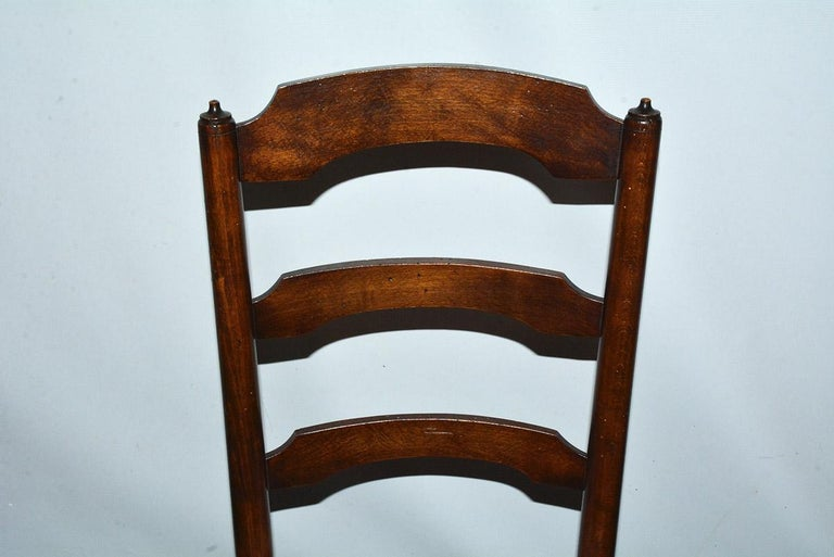 6 French Provincial Country Style Ladder Back Dining Chairs For Sale 4