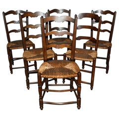 6 French Provincial Country Style Ladder Back Dining Chairs