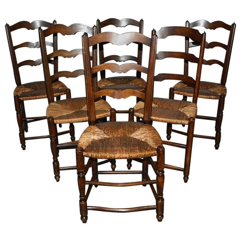 6 French Provincial Country Style Ladder Back Dining Chairs For Sale