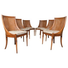 6 French Regency Louis XVI Style Cane Dining Chairs in Walnut