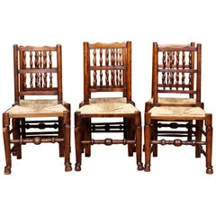 6 Georgian Dining Chairs Country Antique George IV Ash Rushwork Seats