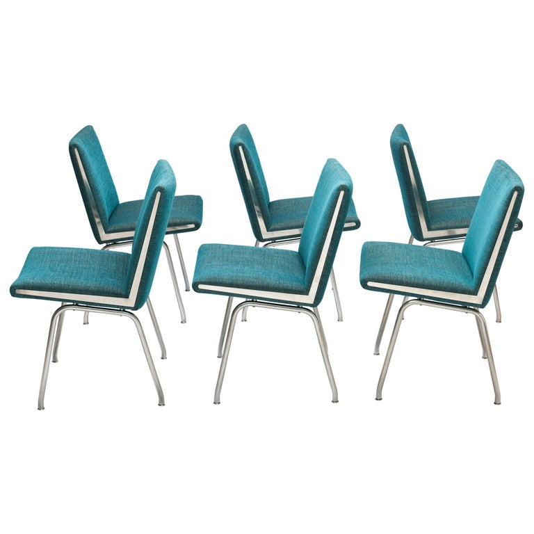 6 Hans J. Wegner Dining Chairs by A.P. Stolen, New Upholstery's For Sale