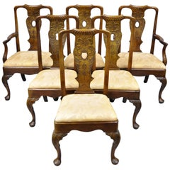 6 Henredon Aston Court Carved Wood Oriental Georgian Dining Chairs with Birds
