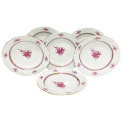 "6 Herend Hungary Porcelain ""Chinese Bouquet Raspberry"" Soup Plates"