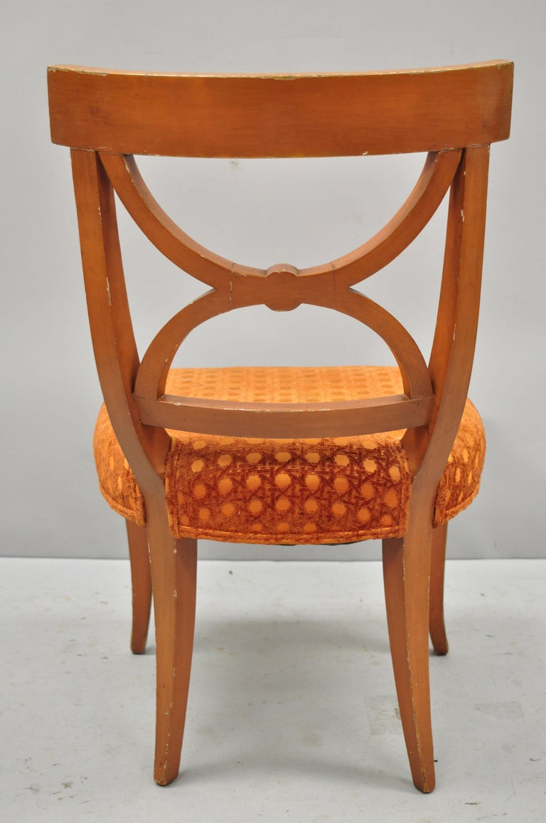6 Hollywood Regency French Greek Key Distress Painted Orange Beige Dining Chairs For Sale 5