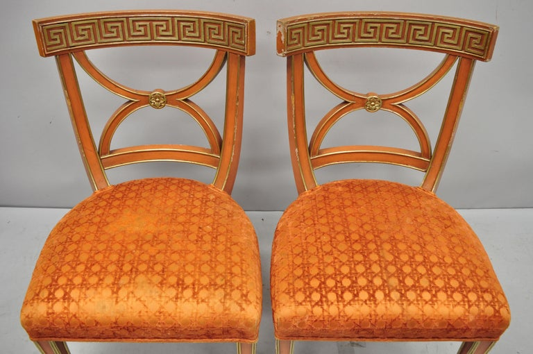 6 Hollywood Regency French Greek Key Distress Painted Orange Beige Dining Chairs For Sale 6