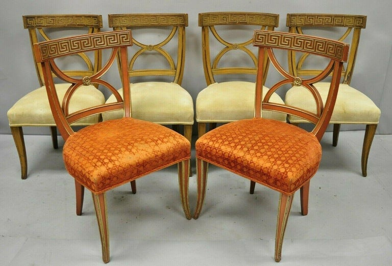 6 Hollywood Regency French Greek Key Distress Painted Orange Beige Dining Chairs For Sale 7