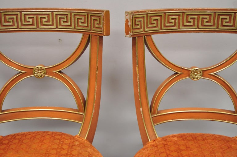 6 Hollywood Regency French Greek Key Distress Painted Orange Beige Dining Chairs In Good Condition For Sale In Philadelphia, PA