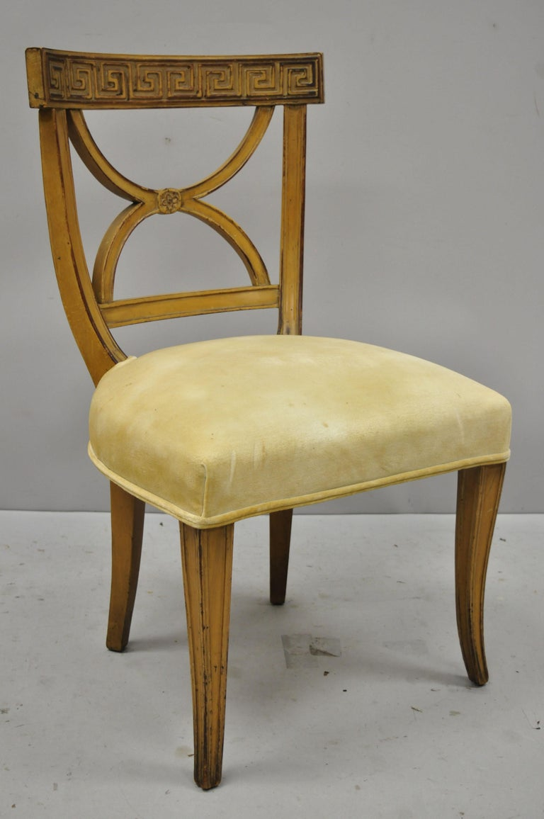 20th Century 6 Hollywood Regency French Greek Key Distress Painted Orange Beige Dining Chairs For Sale