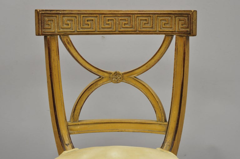 Fabric 6 Hollywood Regency French Greek Key Distress Painted Orange Beige Dining Chairs For Sale