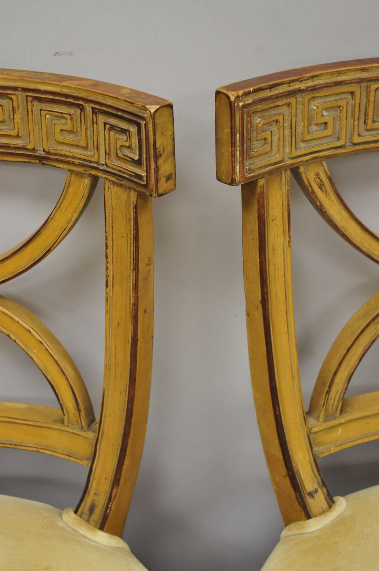 6 Hollywood Regency French Greek Key Distress Painted Orange Beige Dining Chairs For Sale 1