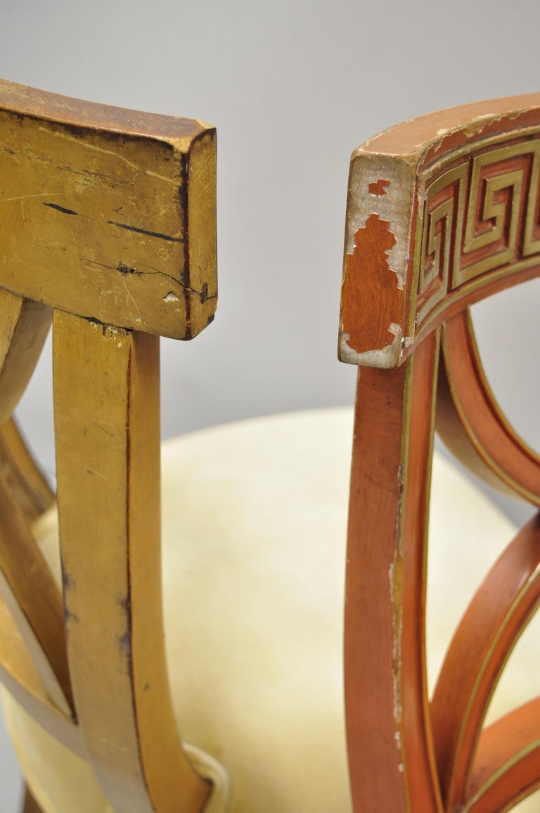 6 Hollywood Regency French Greek Key Distress Painted Orange Beige Dining Chairs For Sale 2