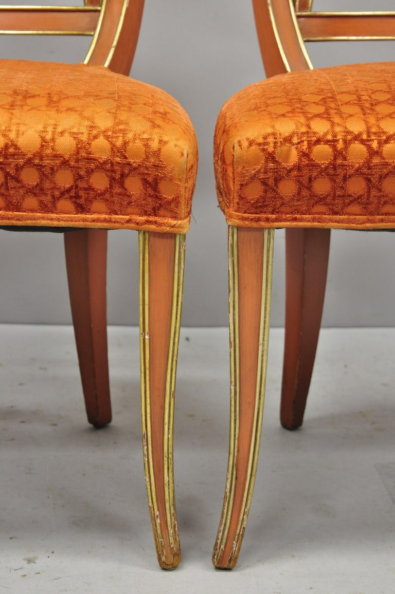6 Hollywood Regency French Greek Key Distress Painted Orange Beige Dining Chairs For Sale 3