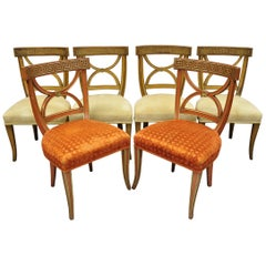 6 Hollywood Regency French Greek Key Distress Painted Orange Beige Dining Chairs
