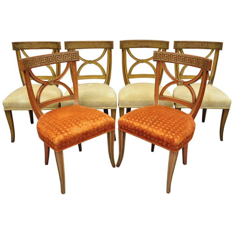 6 Hollywood Regency French Greek Key Distress Painted Orange Beige Dining Chairs For Sale