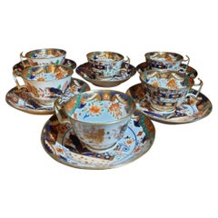 6 Imari Handpainted Spode Cups and Saucers