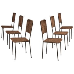 6 Iron and Rattan Chairs, Brazil, 1960s