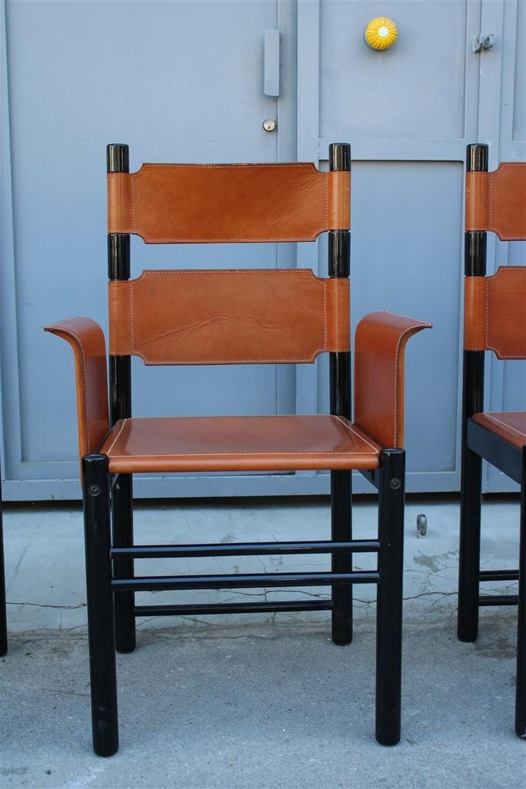 6 Italian Chairs Black Cognac Leather Ibisco Made in Italy Design, 1960s For Sale 4