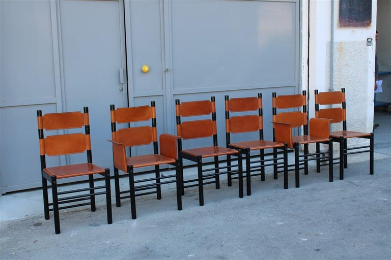 6 Italian Chairs Black Cognac Leather Ibisco Made in Italy Design, 1960s For Sale 5