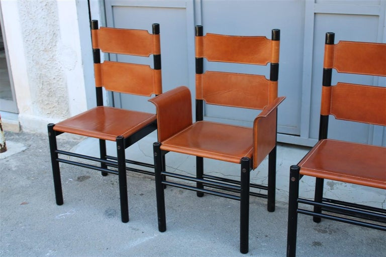 Mid-Century Modern 6 Italian Chairs Black Cognac Leather Ibisco Made in Italy Design, 1960s For Sale