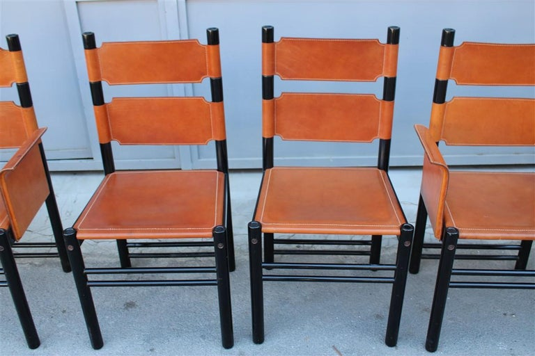6 Italian Chairs Black Cognac Leather Ibisco Made in Italy Design, 1960s In Good Condition For Sale In Palermo, Sicily