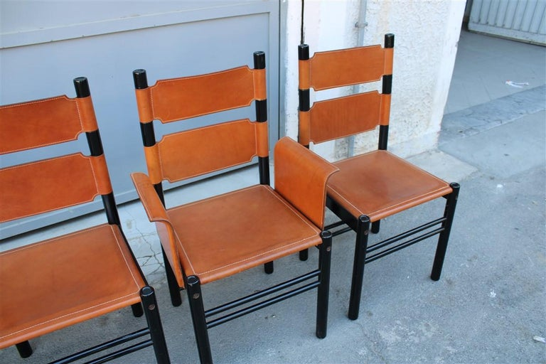 Mid-20th Century 6 Italian Chairs Black Cognac Leather Ibisco Made in Italy Design, 1960s For Sale