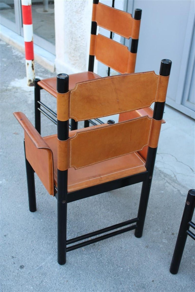 Wood 6 Italian Chairs Black Cognac Leather Ibisco Made in Italy Design, 1960s For Sale