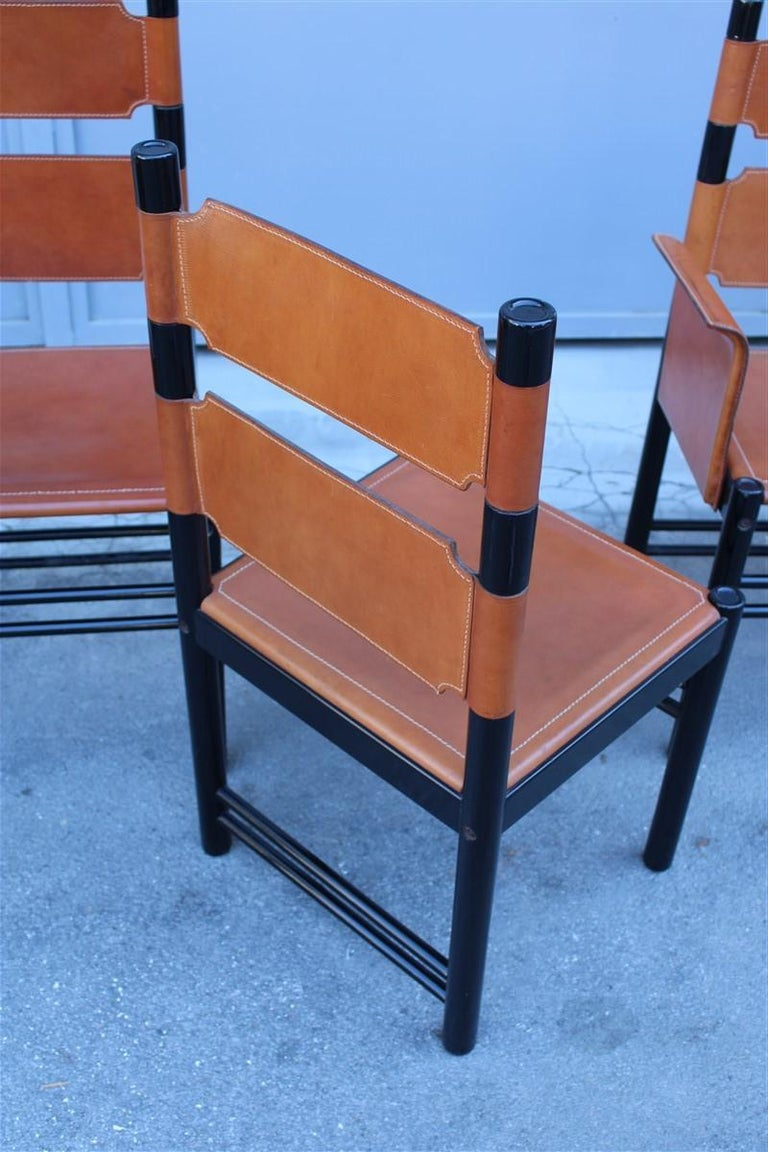 6 Italian Chairs Black Cognac Leather Ibisco Made in Italy Design, 1960s For Sale 1