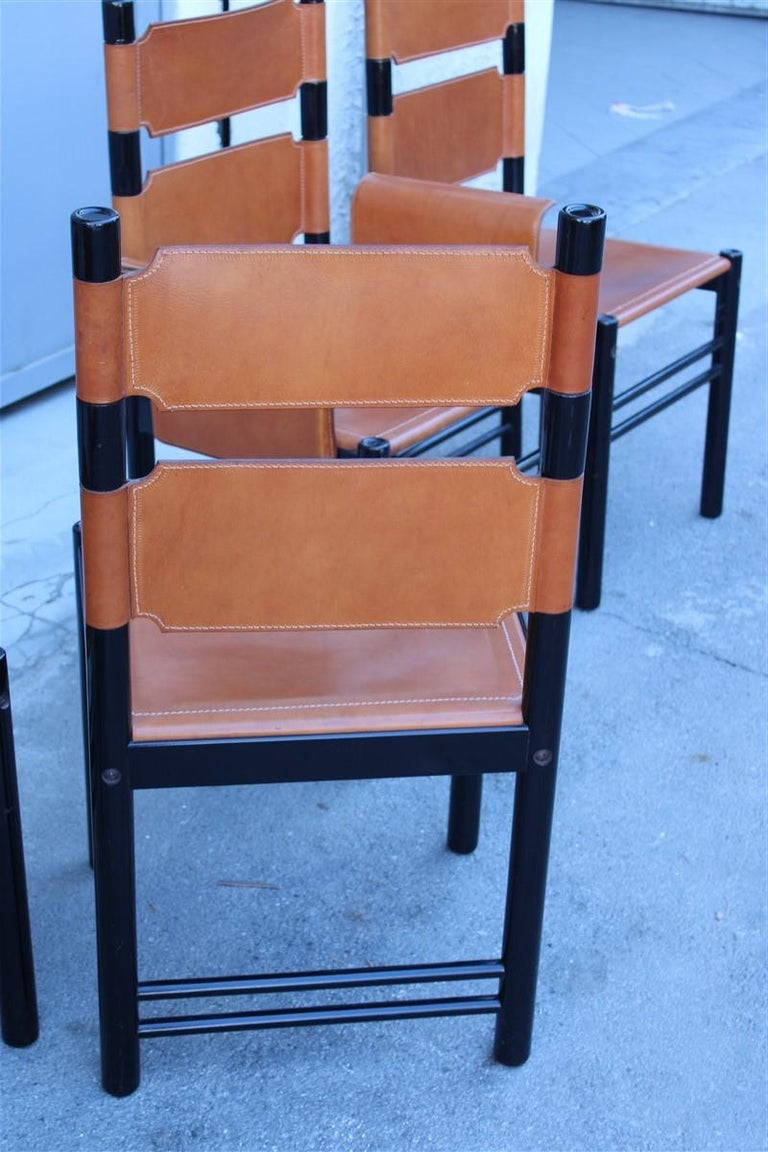 6 Italian Chairs Black Cognac Leather Ibisco Made in Italy Design, 1960s For Sale 2