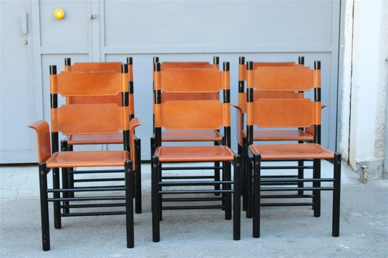 6 Italian Chairs Black Cognac Leather Ibisco Made in Italy Design, 1960s For Sale 3